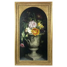 19th Century English School Still Life of Flowers in an Urn Antique Oil on Canvas