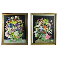 F R Elwell (British) Pair of Still Life Paintings of Flowers (1991) Oil on Board.