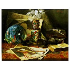 Caroline Therese Friedrich (German 1848 - 1914). Still life of Vase with Lunaria, Chinese Lantern, Books, Paintings and Artist's Brushes. Antique Oil on Panel.
