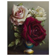 Irene Klestova (Polish/Russian 1908-1989); Still Life of Roses in a Vase Oil on Board
