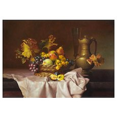 Andreas Gyula Bubarnik (Hungarian b.1936) Still Life of Fruit, Flagon and Wine Glass. Large Oil on Panel.