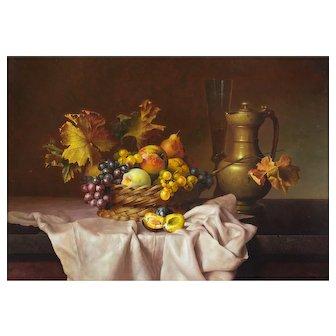 Andreas Gyula Bubarnik (Hungarian b.1936) Still Life of Fruit, Flagon and Wine Glass. Large Oil on Panel.