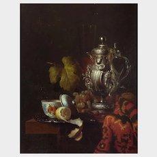 Andreas Gyula Bubarnik (Hungarian b.1936) Still Life of Silver Wine Jug, Glass, Chinese Porcelain Bowl, Lemon, Grapes, and Blanket. Oil on Panel.