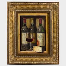 Raymond Campbell (British b.1956) Trompe L'oeil Still Life Painting of Vintage Wine Bottles, Wine Glass and Mature Cheese. Oil on Wood Panel