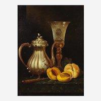 Andreas Gyula Bubarnik (Hungarian b.1936) Still Life of a Silver Teapot, Wine Glass, Peaches and Grapes. Oil on Panel.