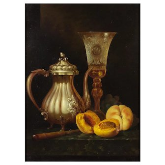 Andreas Gyula Bubarnik (Hungarian b.1936) Still Life of a Silver Teapot, Wine Glass, Peaches and Grapes. Oil on Panel.