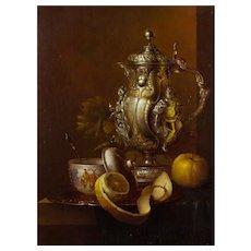 Andreas Gyula Bubarnik (Hungarian b.1936) Still Life of a Silver Wine Jug, Chinese Bowl, and Apple. Oil on Panel.