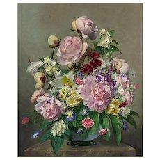 John E Nicholls (British 1885-1955) Still Life of Flowers in a Glass Vase on a Marble Ledge. Oil on Panel.