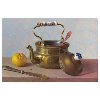 Andreas Gyula Bubarnik (Hungarian b.1936) Hyperrealist Still Life of a Brass Kettle, Lemon and Butter Knife. Oil on Panel.