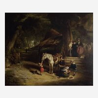 """Attributed to William Shayer (British 1787-1879) """"Sunday Morn"""" Antique Oil on Canvas"""