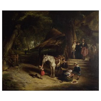 "Attributed to William Shayer (British 1787-1879) ""Sunday Morn"" Antique Oil on Canvas"