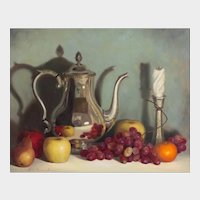 Alton Roland Lowe (Bahamian b.1946) Hyperrealist Still Life of Silver Teapot, Fruit, and Candlestick. Oil on Panel.