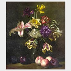 Frank Arcuri (American b.1946) Still Life of Flowers in a Glass Vase with Fruit. Oil on Canvas