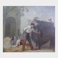 The Milling Machine. Late 19th / early 20th Century French Impressionist Antique Oil on Panel