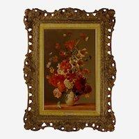 Franz Xaver Wolf (Austrian 1896-1989) Still Life of Flowers and Butterflies. Oil on Wood Panel.