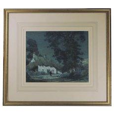 Albert Moulton Foweraker (British 1873-1942). Westcountry Cottage in Moonlight (1929) Watercolour.