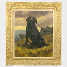 John Trickett (British b. 1953) Portrait of a Black Labrador Dog Oil on Canvas