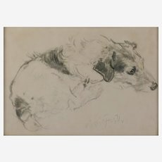 Neil Forster (British 1939-2016) Portrait of a Jack Russell Terrier, charcoals on white/light grey paper, signed, 9.5in x 13.5in