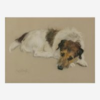 Neil Forster (British 1939-2016) Portrait of a Jack Russell Terrier, pastels on buff-colored paper, signed, 10in x 13.75in,