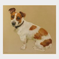 "Neil Forster (British 1939-2016) Portrait of ""Kimmy"", a Jack Russell Terrier, pastels on buff-colored paper, 13.5in x 15in, signed and titled"