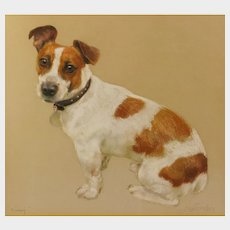 """Neil Forster (British 1939-2016) Portrait of """"Kimmy"""", a Jack Russell Terrier, pastels on buff-colored paper, 13.5in x 15in, signed and titled"""