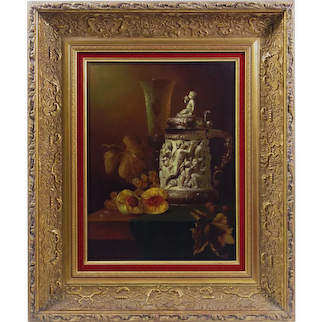 Andreas Gyula Bubarnik (Hungarian b.1936) Still Life of tankard, wine glass, peach, grapes and vine leaves, oil on panel, signed lower left, 15.25in x 11.5in