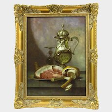 Andreas Gyula Bubarnik (Hungarian b.1936) Still Life of ham, lemon, silver wine jug, and wine glass, oil on panel, signed lower left, 15.5in x 11.5in,