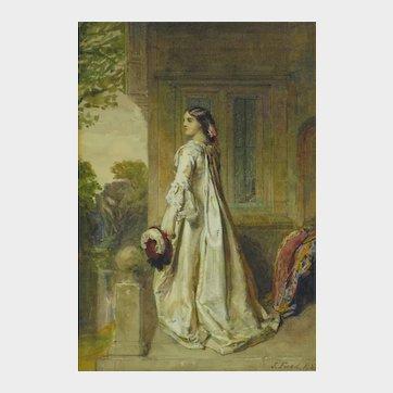 John Faed (Scottish/British 1819-1902) Portrait of Julia Mannering. Watercolour.