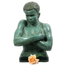 Large 19th Century Bronze of an African Man
