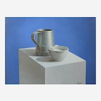 Manuel Higueras (Spanish b.1973) Still Life of a sugar bowl and pewter tankard. Oil on Canvas.