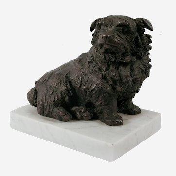 Sally Arnup (British 1930–2015) Bronze Sculpture of a Norfolk Terrier Dog