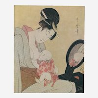Kitagawa Utamaro (Japanese c.1753 - 1806) Mother Suckling Her Baby Extremely Rare Woodcut in Colors