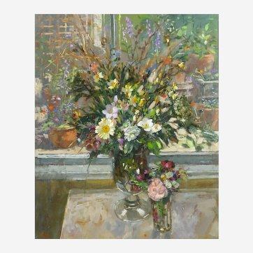 Pamela Kay RWS, RBA, NEAC (British, b.1939). Flowers in the Window. Still Life. Oil on Canvas.