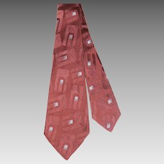 "Vintage 1940s Beau Brummell ""Masterpiece"" Brown Silk Jacquard Wide Tie ""The New Utica"""