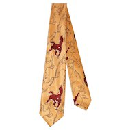 Vintage 40s/50s Haband Western Horse Print Rayon Tie
