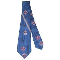 Vintage 1950s Blue Silk Jacquard Crown Print Necktie