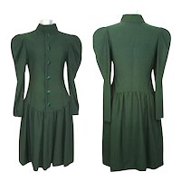 Vintage c1980 Scaasi Couture Victoriana Green Dress w/Gigot Sleeves S