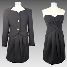 Vintage 1980s Scaasi Couture Black Evening Suit w/Strapless Dress XS