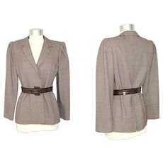 Vintage 1970s Galanos Brown Checked Wool Belted Jacket S