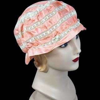 Vintage 1920s Peach Silk & Lace Boudoir Cap