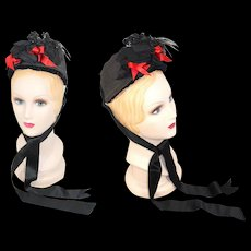 Victorian 1870s/80s Black Straw Bonnet w/Red Ribbon & Flowers