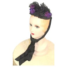 Victorian 1880s Embellished Black Toque Bonnet w/Purple Flowers