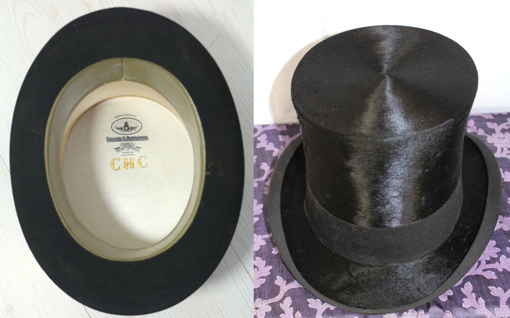 1d9db3f9bc7 Victorian 1890s Collins   Fairbanks Top Hat   Leather Hat Box   Cur ...