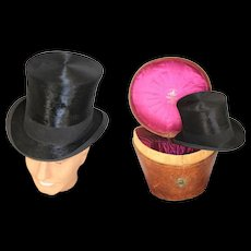 Victorian 1890s Collins & Fairbanks Top Hat & Leather Hat Box