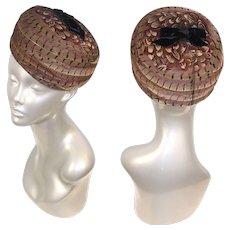 Vintage 1960s Peck & Peck Pheasant Feather Pillbox Hat