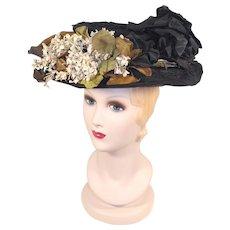 Edwardian c.1905 Black Chiffon & Horsehair Braid Hat