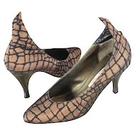 "NOS 80s/90s Sebastian Bronze ""Alligator"" Brocade Pumps Shoes 9.5M"
