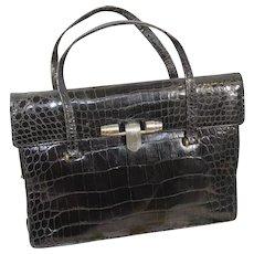 Chic Vintage 1930s French Black Alligator Purse Handbag
