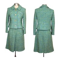 Vintage 1960s Davidow Aqua Tweed Spring Suit S