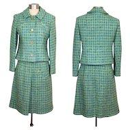 Vintage 1960s Davidow Aqua Tweed Spring Suit S